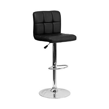 Flash Furniture – Tabouret de bar de 17 1/2 x 18 po en vinyle matelassé avec base chromée, hauteur réglable, rouge