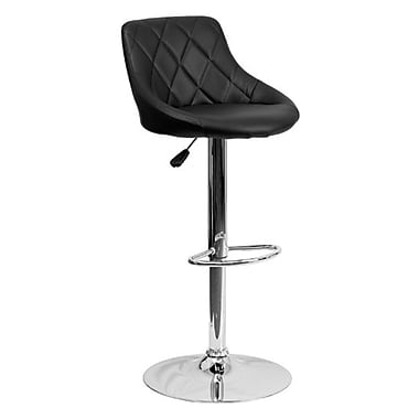 Flash Furniture – Tabouret de bar ajustable en vinyle avec base chromée, 18 1/2 x 19 po, noir