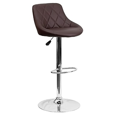 Flash Furniture - Tabouret à hauteur réglable 18 1/2 po x 19 po, assise en vinyle et base chromée, brun