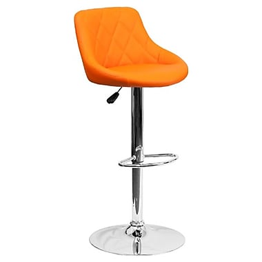 Flash Furniture – Tabouret de bar de 18 1/2 x 19 po en vinyle avec base chromée, hauteur réglable, orange