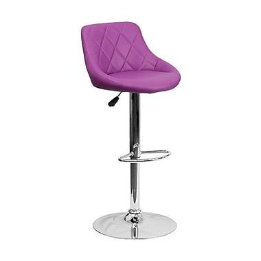 Flash Furniture – Tabouret de bar de 18 1/2 x 19 po en vinyle avec base chromée, hauteur réglable, violet