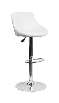 "Flash Furniture 18 1/2"" x 19"" Vinyl Adjustable Height Bar Stool W/Chrome Base, White"