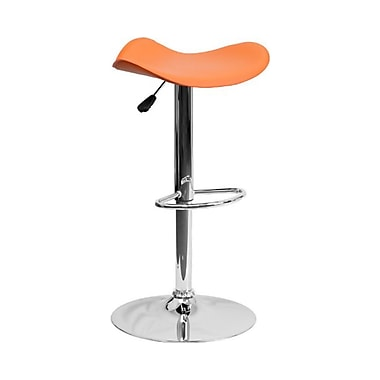 Flash Furniture – Tabouret de bar de 18 1/4 x 17 po en vinyle avec base chromée, hauteur réglable, orange
