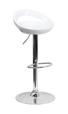 Flash Furniture 38.75'' Contemporary Adjustable Height Bar Stool, White (2CHTC31062WH)