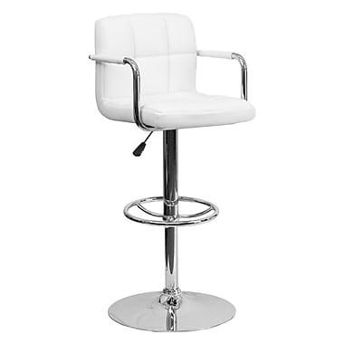 Flash Furniture – Tabouret de bar ajustable en vinyle, 20 x 18 po, blanc