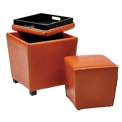 Office Star OSP Designs Vinyl 2 Piece Ottoman Set, Orange