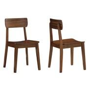 Boraam Solid Rubberwood Zebra Hagen Chairs, Walnut