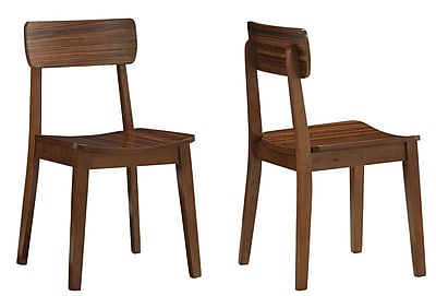 Boraam Solid Rubberwood Zebra Hagen Chairs, Walnut
