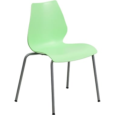 Flash Furniture Hercules Series Polypropylene Stackable Chair With Silver Frame, Green, 20/Pack