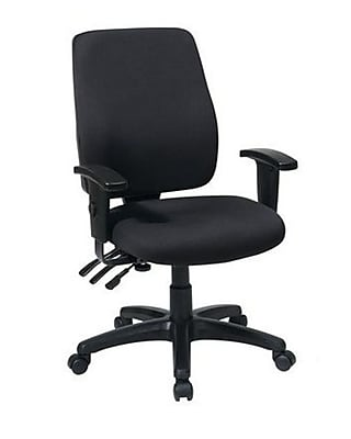 Office Star WorkSmart Fabric Computer and Desk Office Chair, Adjustable Arms, Burgundy (33347-227)