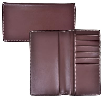 Royce Leather Check Book & Card Pocket Chocolate