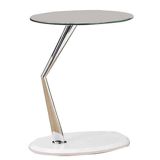 """Monarch Accent Table 24.25""""H x 23.75""""W x 15.75""""D Wood, Metal, Glass Glossy White"""
