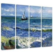 "ArtWall ""Seascape at Saintes..."" 4 Piece Gallery Wrapped Canvas Art By Vincent Van Gogh, 36"" x 48"""