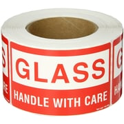 "Tape Logic® Labels, ""Glass - Handle With Care, 3"" x 5"", Red/White, 500/Roll"
