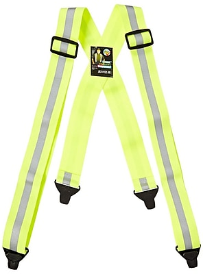 Mutual Industries Reflective Elastic Suspender, Lime, One Size