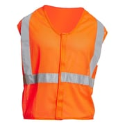 Mutual Industries Gann ANSI Class 2 Mesh Non Durable Flame Retardant Safety Vest, Orange, Large