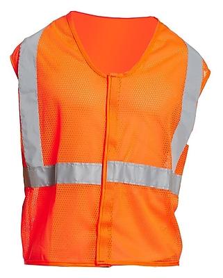 Mutual Industries Gann ANSI Class 2 Mesh Non Durable Flame Retardant Safety Vest, Orange, Large