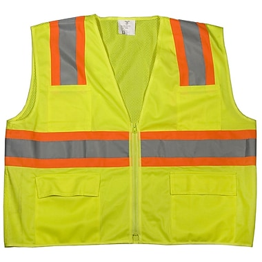 Mutual Industries MiViz ANSI Class 2 High Visibility Mesh Surveyor Vest, Lime, Large