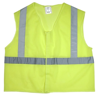 Mutual Industries MiViz ANSI Class 2 Mesh Safety Vest With Silver Reflective, Lime, 3XL