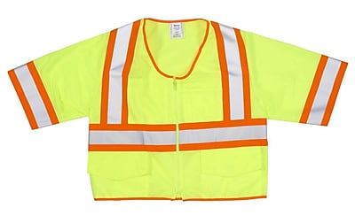 Mutual Industries MiViz ANSI Class 3 High Visibility Solid Safety Vest With Pockets, Lime, 4XL