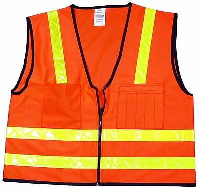 Mutual Industries MiViz High Visibility Surveyor Vest, Orange, 3XL