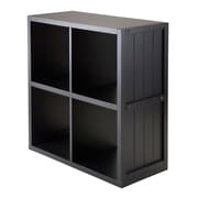 Winsome 20025 2 x 2 Cube Shelf with Wainscoting Panel, Black