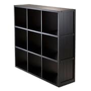 Winsome 3 x 3 Cube Shelf with Wainscoting Panel, Black (20040)