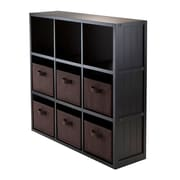 Winsome 20642 3 x 3 Cube Shelf with Wainscoting Panel, Black