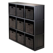 Winsome 20840 3 x 3 Cube Shelf with Wainscoting Panel, Black