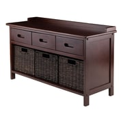 Winsome 94383 Solid Wooden Storage Bench with 3 Chocolate Corn Husk Baskets