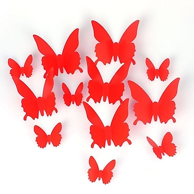 Best Desu 12-Piece 3D Butterfly Wall/Window Decoration, Red, 2/Pack