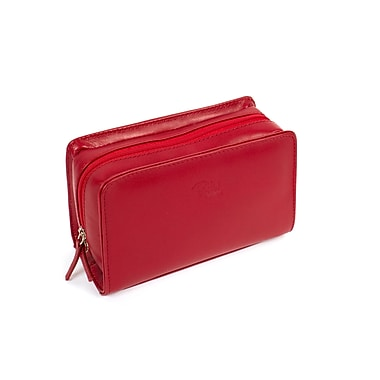 RKW Collection Genuine Leather Cosmetic Bag, Red