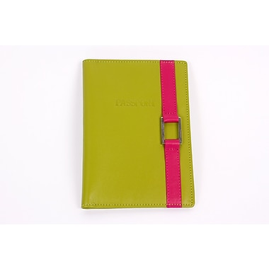 RKW Collection Genuine Leather Passport Cover, Meadow Green/Hot Pink Buckle