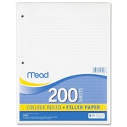 "Filler Paper, College Ruled, 3 Hole Punched, 16 lb Stock, Red Margin Rule, 8-1/2""x11"", White, 200 Sheets/Pack"