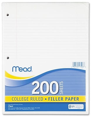 """Filler Paper, College Ruled, 3 Hole Punched, 16 lb Stock, Red Margin Rule, 8-1/2""""x11"""", White, 200 Sheets/Pack"""