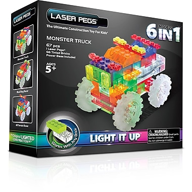 The Laser Pegs® Monster Truck Series 6 in 1 Model Kit