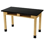 NPS® Rectangular Science Lab Table With Book Compartments, Black Chemical Resistant Top and Solid Wood Legs (SLT2472BC1)