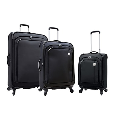 Samboro Feather Lite 3-Piece Expandable Spinner Luggage Sets, Black