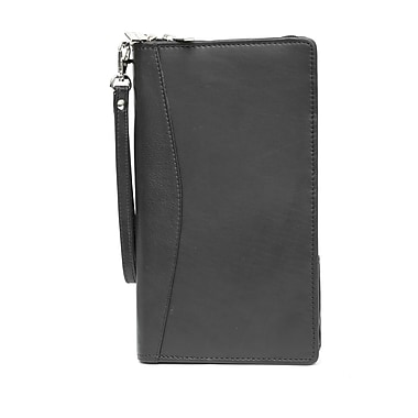 Ashlin® Leather 2-Piece La Padula Ticket Wallet with Separate Passport Cover, Black