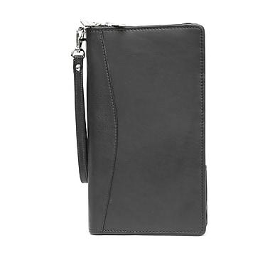 Ashlin® – Portefeuille de voyage La Padula avec couvre-passeport amovible, 2 pièces, cuir, noir