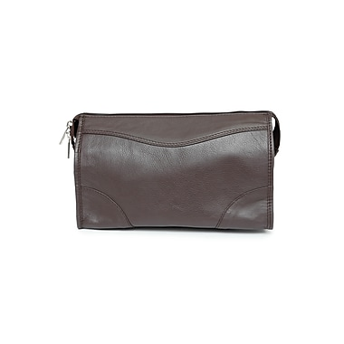 Ashlin® Leather Cordasco Mid-Sized Dopp Kit Shave Bag, Dark Brown