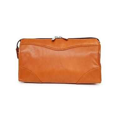 Ashlin® Leather Cordasco Mid-Sized Dopp Kit Shave Bag, British Tan