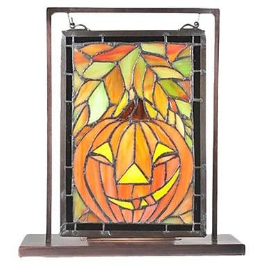 Meyda Tiffany Jack O'Lantern Lighted Mini Tabletop Window Table Lamp