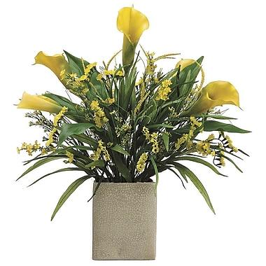 Tori Home Calla Lily/Statics/Grass in Rectangular Vase