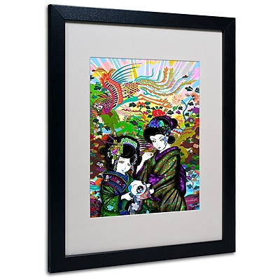 "Trademark Miguel Paredes ""Pulgha & 2 Geishas"" Art, White Matte With Black Frame, 16"" x 20"""