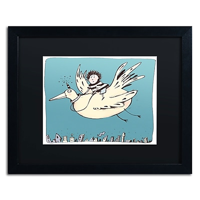 "Trademark Carla Martell ""Boy on Bird"" Art, Black Matte W/Black Frame, 16"" x 20"""