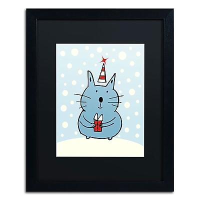 "Trademark Carla Martell ""Christmas Snow Cat"" Art, Black Matte W/Black Frame, 16"" x 20"""