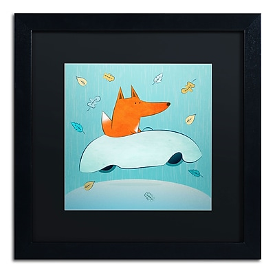 "Trademark Carla Martell ""Fox in Car"" Art, Black Matte W/Black Frame, 16"" x 16"""