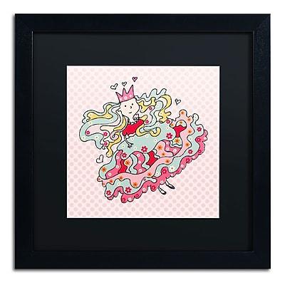 "Trademark Carla Martell ""Little Flower Princess"" Art, Black Matte W/Black Frame, 16"" x 16"""