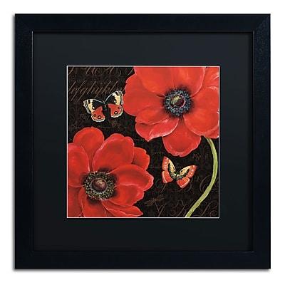 "Trademark Daphne Brissonnet ""Petals and Wings III"" Art, Black Matte W/Black Frame, 16"" x 16"""